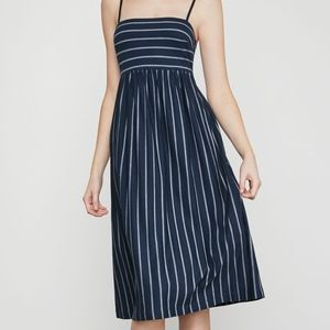 BCBG Stripe Twist-Back Dress